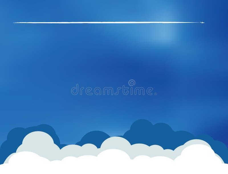 Flugzeug bewölkt Skyline lizenzfreie abbildung