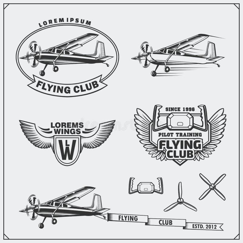 Flugzeug-Clubaufkleber, -embleme, -ausweise und -Gestaltungselemente Abbildung der roten Lilie lizenzfreie abbildung