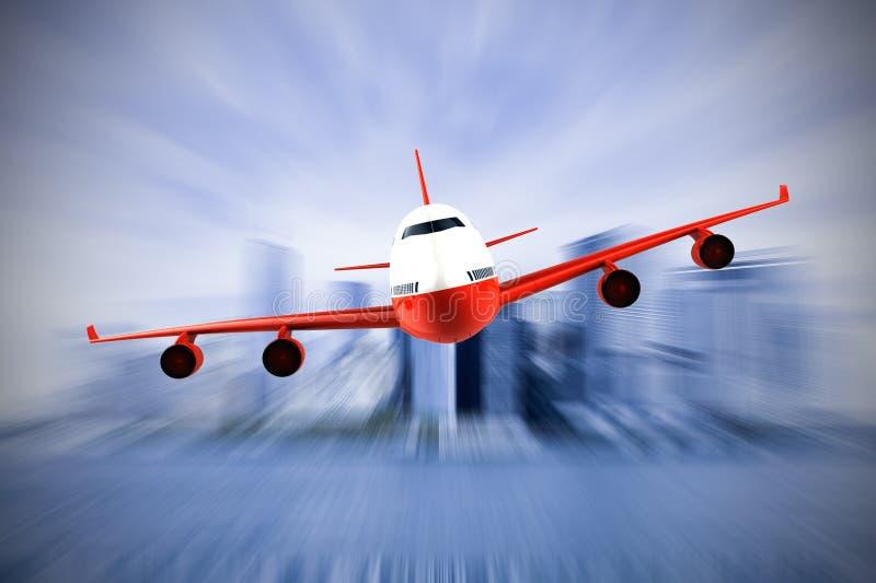 Flugzeug, das über eine moden Stadt fliegt lizenzfreie abbildung