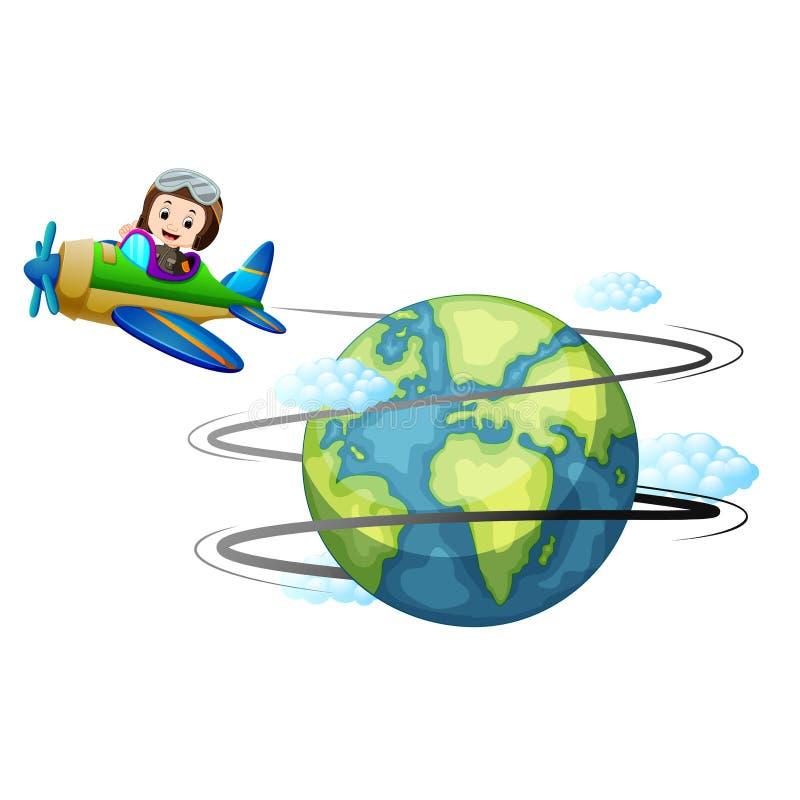 Flugzeug, das auf der ganzen Welt fliegt vektor abbildung