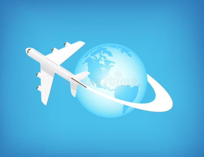 Flugzeug, das auf der ganzen Welt fliegt stock abbildung