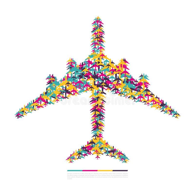 Flugzeug, das aus Flugzeugen besteht lizenzfreie abbildung