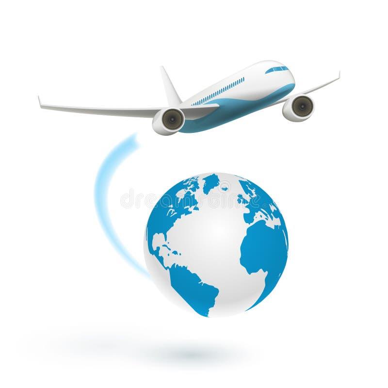 Flugzeug, das rund um den Globus fliegt lizenzfreie abbildung