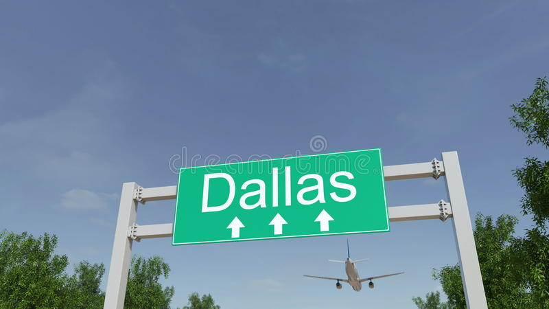 Flugzeug, das zu Dallas-Flughafen ankommt Reisen zu Begriffs-Wiedergabe 3D Vereinigter Staaten stockfoto