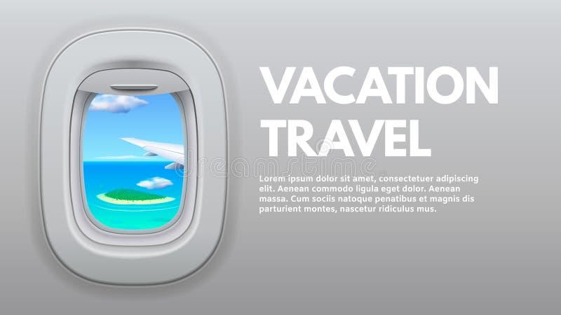 Flugzeug-?ffnungs-Ansicht ReiseFlugzeugfl?gel im Fenster, im Reisendflugzeug und in reisendem Konzeptvektor der Ferien stock abbildung