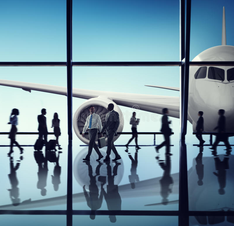 Flugzeug-Flugzeug-Flughafen-Dienstreise-Flug-Konzept stockbild
