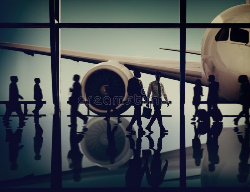 Flugzeug-Flugzeug-Flughafen-Dienstreise-Flug-Transport Conce lizenzfreie stockfotos