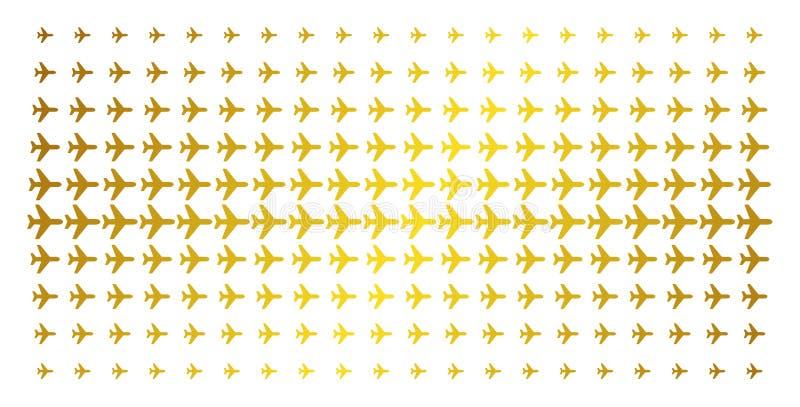 Flugzeug-Goldhalbton-Muster vektor abbildung