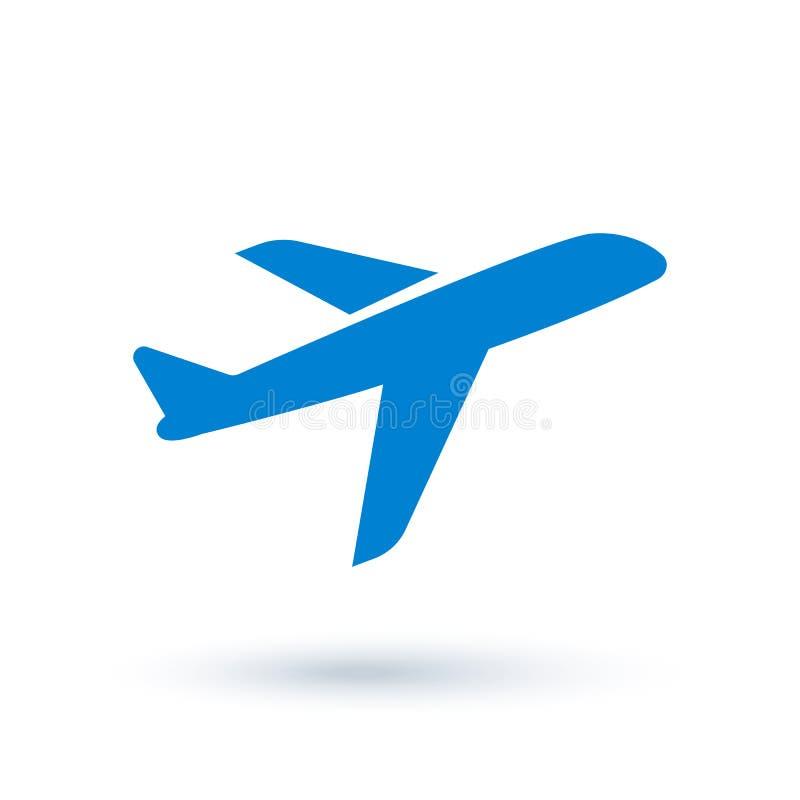 Flugzeug-Ikone in der flachen Art stock abbildung