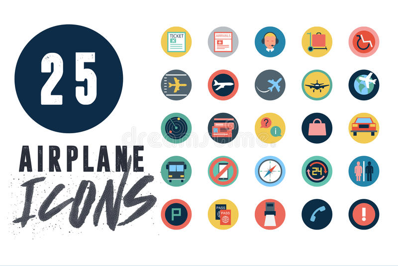 25 Flugzeug-Ikonen eingestellt stock abbildung
