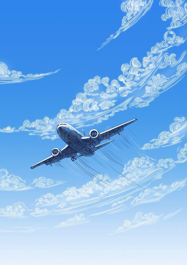 Flugzeug im Himmel stock abbildung