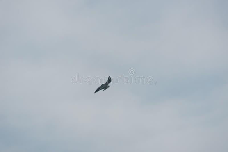 Flugzeug im Himmel an einem bewölkten Tag stockbild