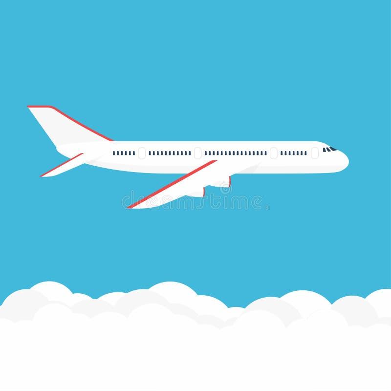 Flugzeug im Himmel Handelsflugzeug in der Seitenansicht stock abbildung