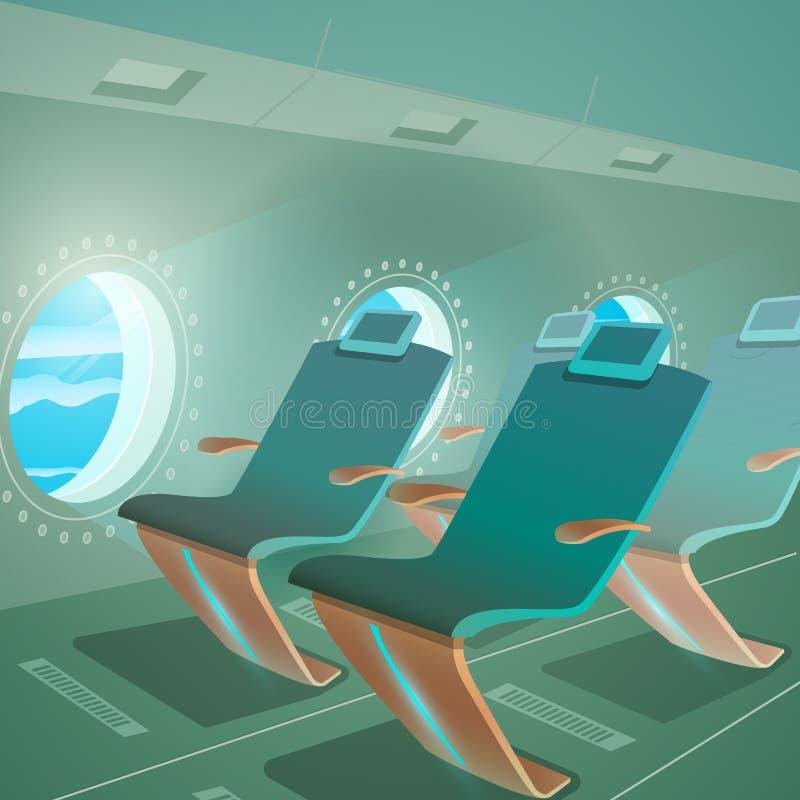 Flugzeug-Kabinen-Ansicht-Beifahrersitz und Öffnung vektor abbildung