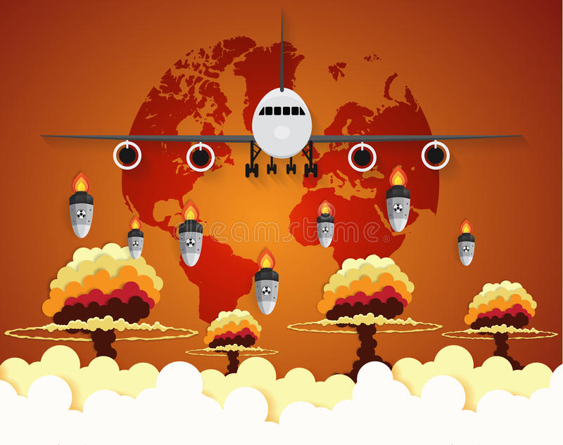 Flugzeug Kern - Atombomben, die auf Erde fallen stock abbildung