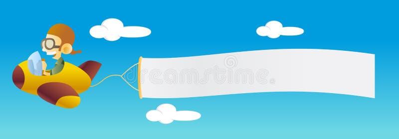 Flugzeug mit Fahne lizenzfreie abbildung