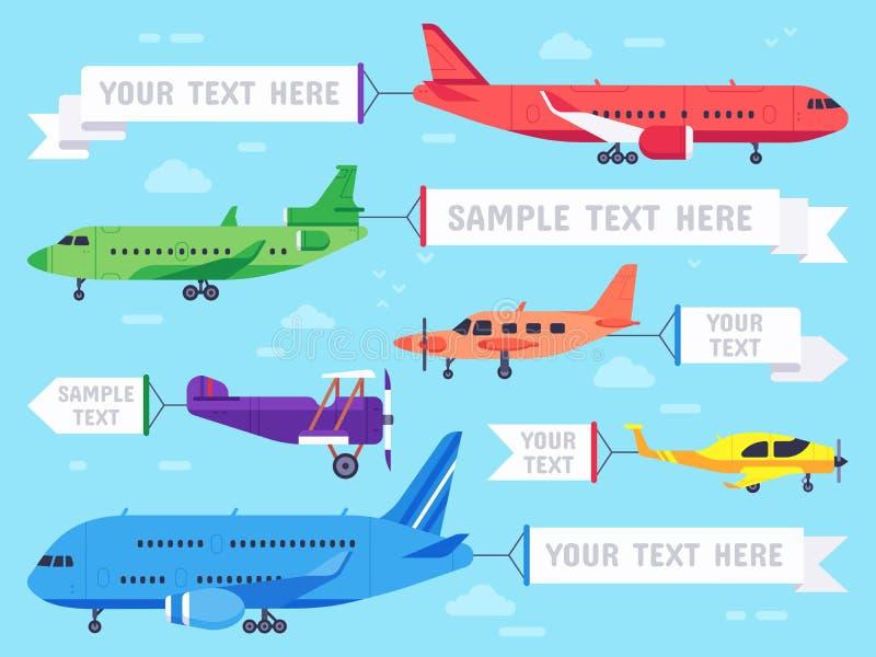 Flugzeug mit Fahne Fliegendes Anzeigenflugzeug, Luftfahrtflugzeugfahnen und Anzeigenvektorillustration der Fluglinie flache vektor abbildung