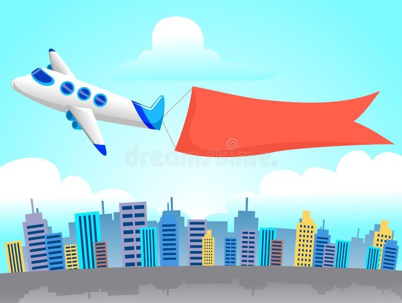 Flugzeug mit Fahnen-Fliegen um die Stadt stock abbildung