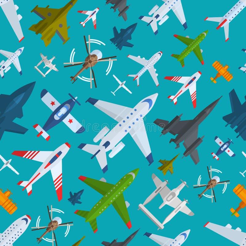 Flugzeug plains nahtloses Muster der Draufsichtvektorillustration vektor abbildung
