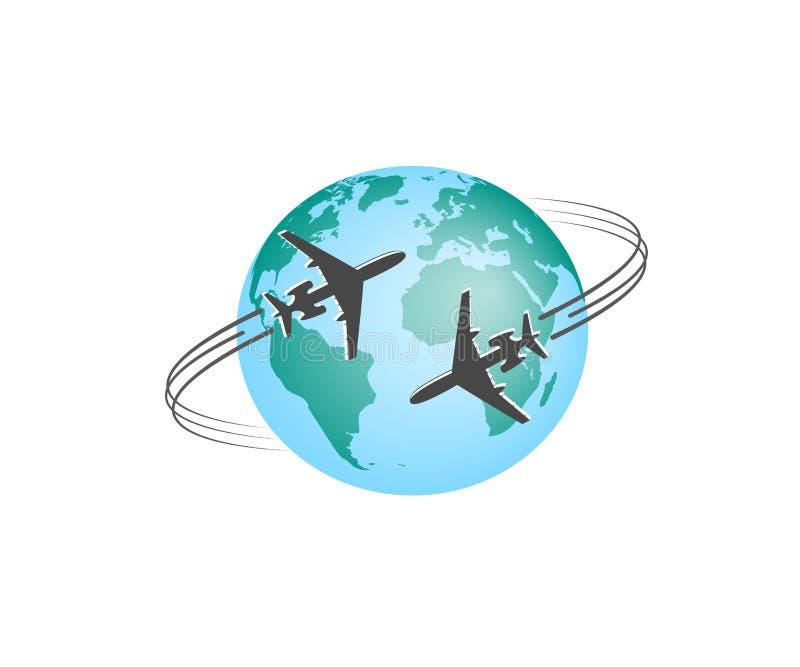 Flugzeug Schattenbild von Fliegenmitteilungen um farbige Kugel Gerundete Flugzeugspur Auch im corel abgehobenen Betrag lizenzfreie abbildung