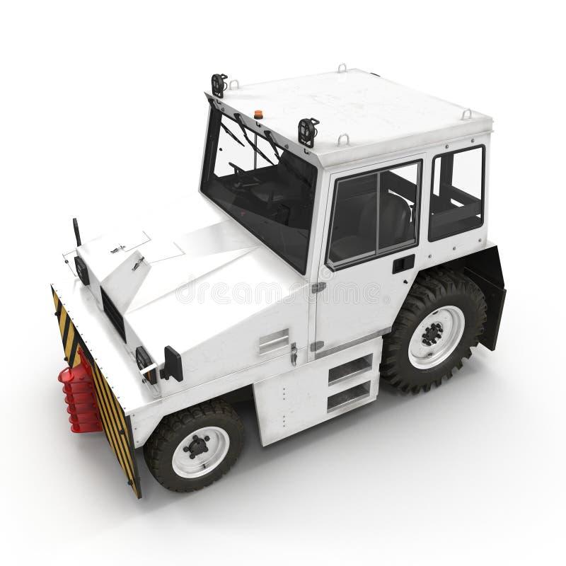 Flugzeug-Schleppen-Traktor auf Weiß Abbildung 3D lizenzfreie abbildung