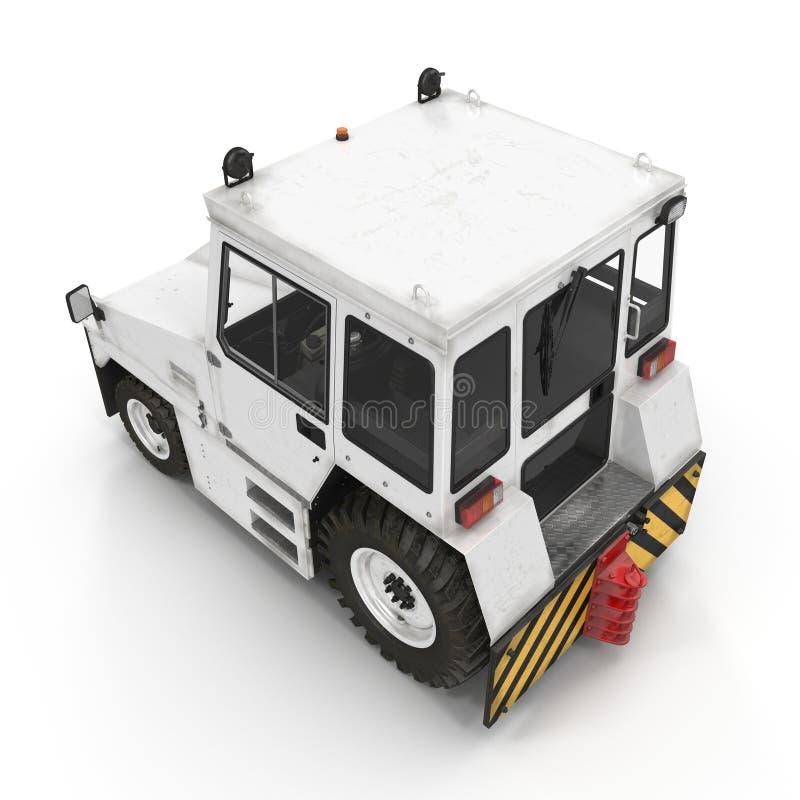 Flugzeug-Schleppen-Traktor auf Weiß Abbildung 3D stock abbildung
