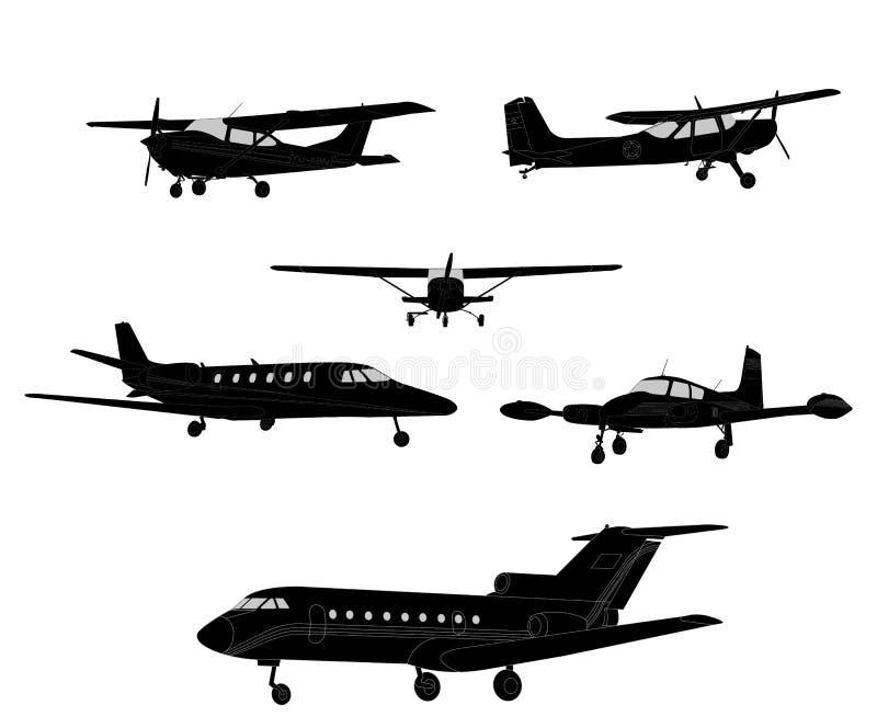 Flugzeug silhouettiert Sammlung stock abbildung
