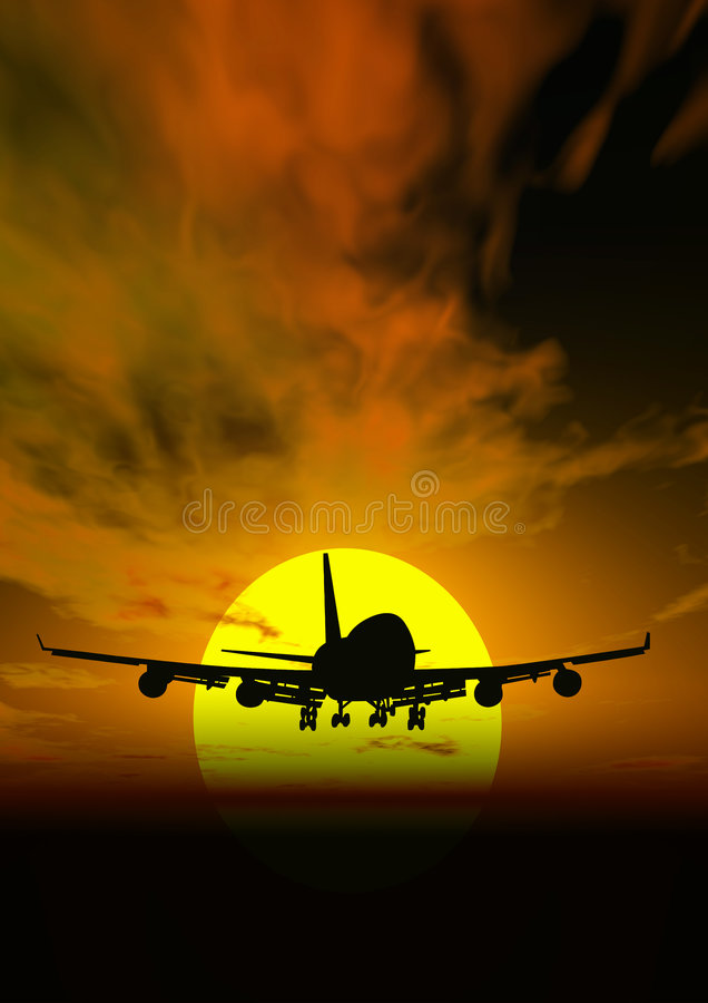 Flugzeug@ Sonnenuntergang lizenzfreie abbildung