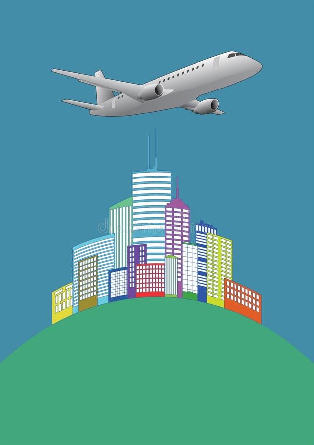 Flugzeug städtisch vektor abbildung