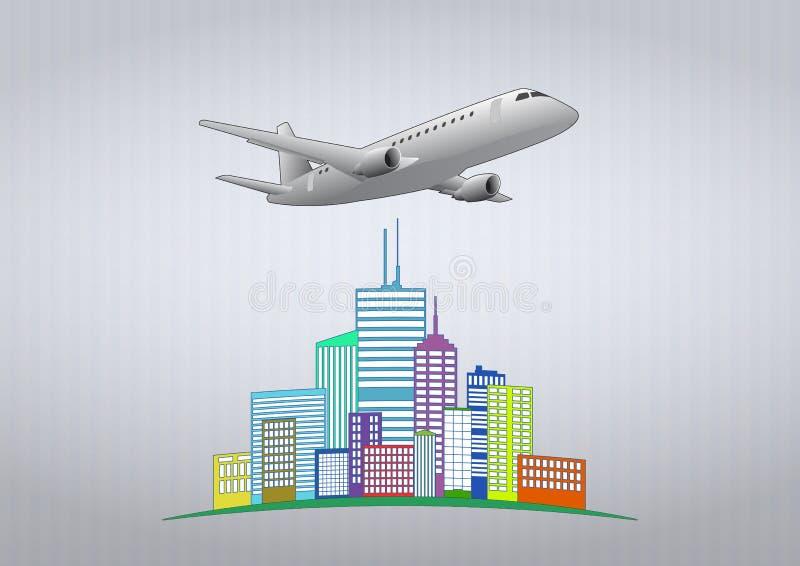 Flugzeug städtisch stock abbildung