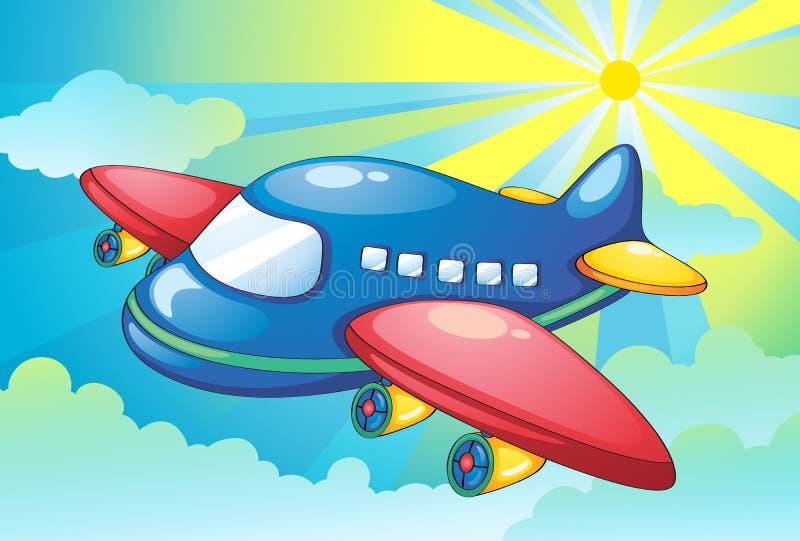 Flugzeug und helle Strahlen im Himmel vektor abbildung