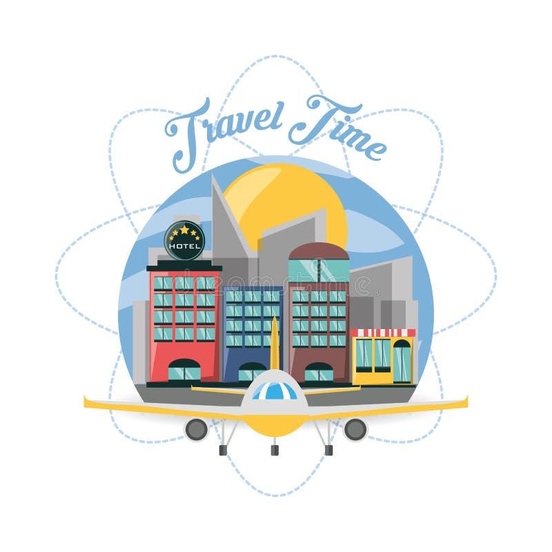Flugzeug und Hotel in der Stadt der Reise stock abbildung