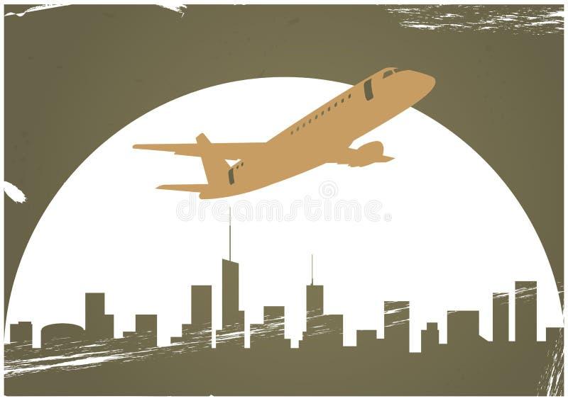 Flugzeug und Skyline vektor abbildung