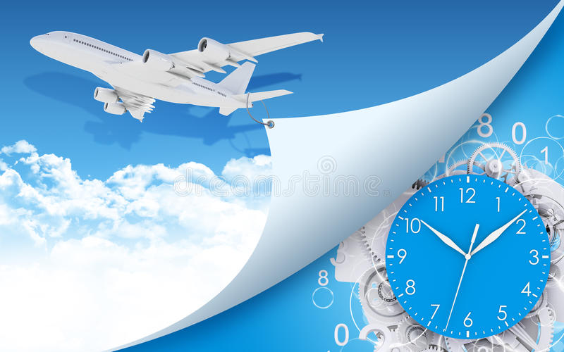 Flugzeug und Ziffernblatt, Gänge mit Zahlen lizenzfreie abbildung