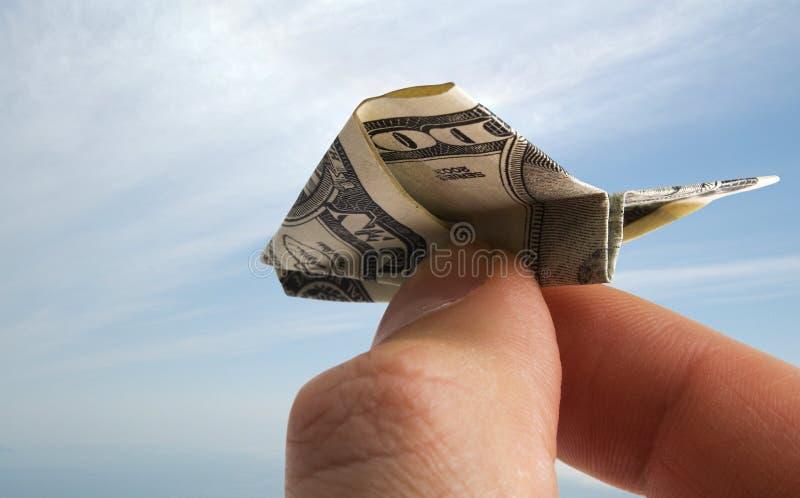 Flugzeug vom Dollar stockfotografie