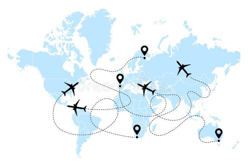 Flugzeugclipartikone mit Wegwegbahn im Weiß des blauen Schwarzen Flugzeug- und Weltkartevektor vektor abbildung