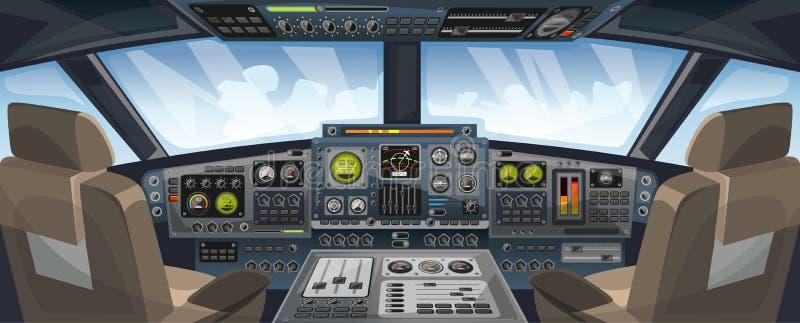 Flugzeugcockpitansicht mit Bedienfeldknöpfen und Himmelhintergrund auf Fensteransicht Flugzeugpilotkabine mit Armaturenbrettsteue stock abbildung