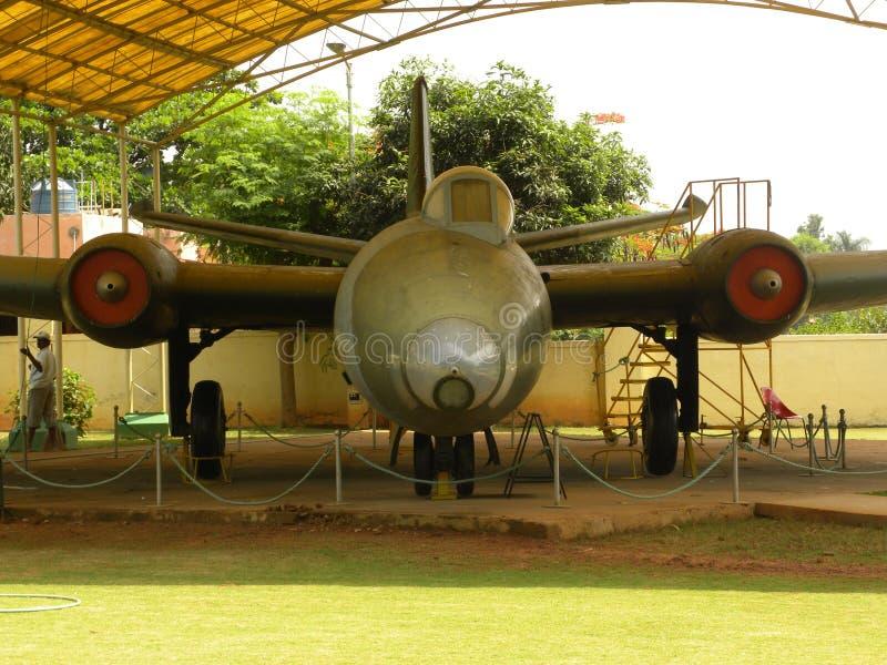 Flugzeuge Bangalores, Karnataka, Indien - 1. Januar 2009 Canberra bei HAL Aerospace Museum stockbilder