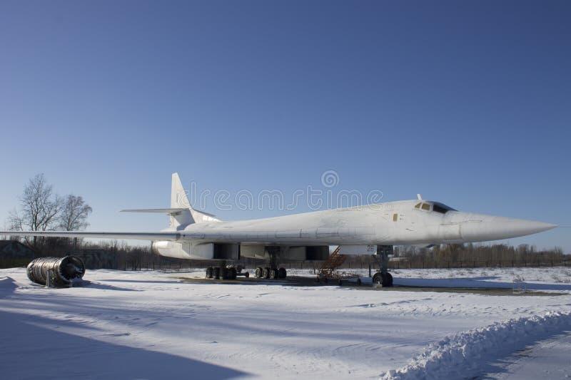Flugzeuge des Tupolevs Tu-160 auf Luftfahrt-Museum Ukraine stockfotos