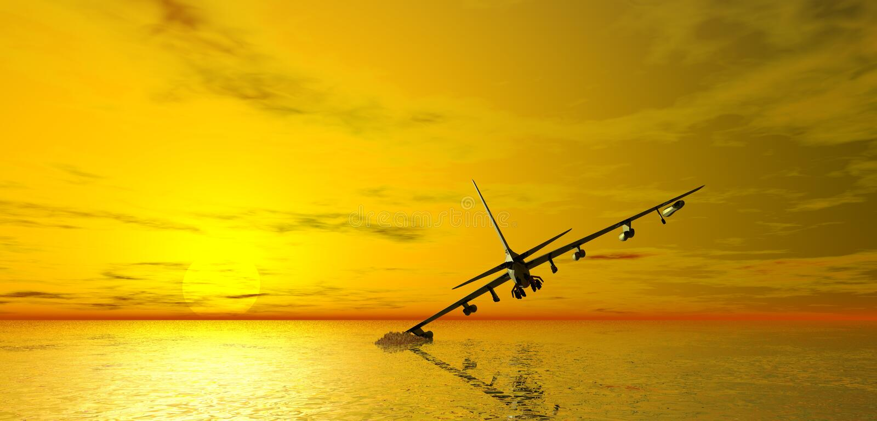 Flugzeuge, die im Meer abbrechen stock abbildung