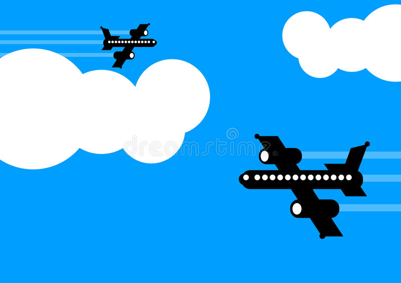 Flugzeuge, die in verschiedene Richtungen fliegen stock abbildung