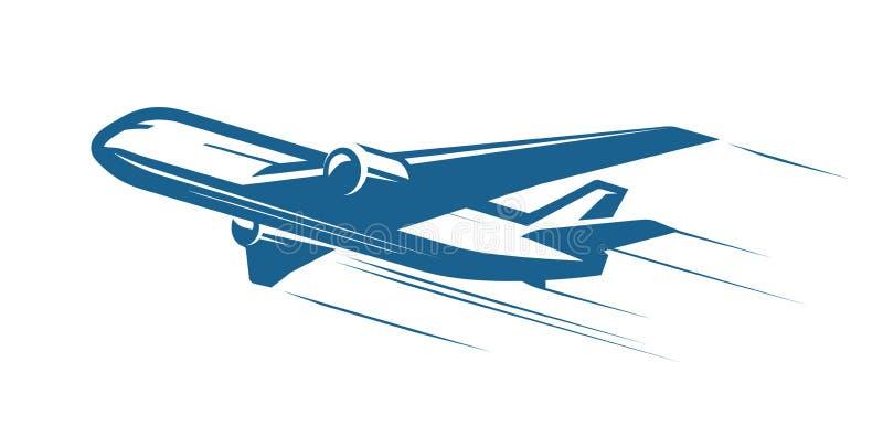 Flugzeuge, Flugzeug, Fluglinienlogo oder Aufkleber Reise, Flugzeugverkehr, Passagierflugzeugsymbol Auch im corel abgehobenen Betr vektor abbildung