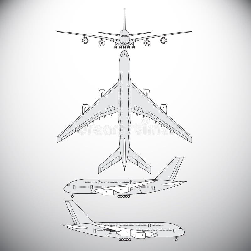 Flugzeuge, Passagierflugzeug stock abbildung