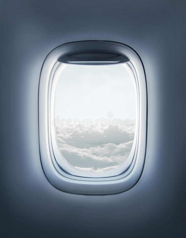 Flugzeugfenster lizenzfreies stockfoto
