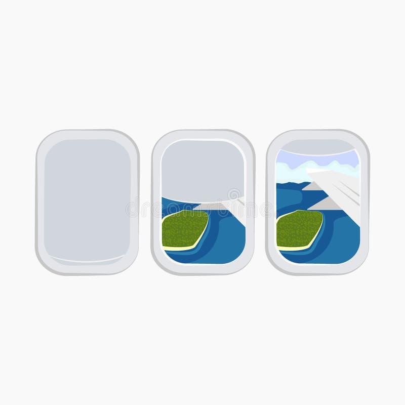 Flugzeugfenster?ffnungsvorrat-Vektorillustration lokalisiert auf wei?em Hintergrund lizenzfreie abbildung