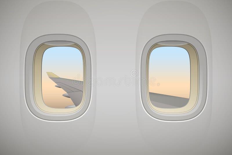 Flugzeugfenster, Flugzeugfenster mit Flügel stock abbildung
