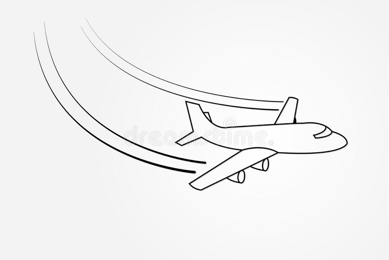 Flugzeugfliegen mit ändernder Richtung unter Verwendung der Linien auf weißer Hintergrundvektorillustration für Transportindustri stock abbildung