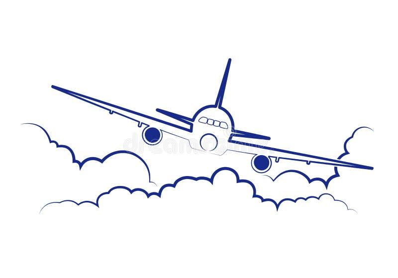 Flugzeugfliegen unter Wolken stock abbildung