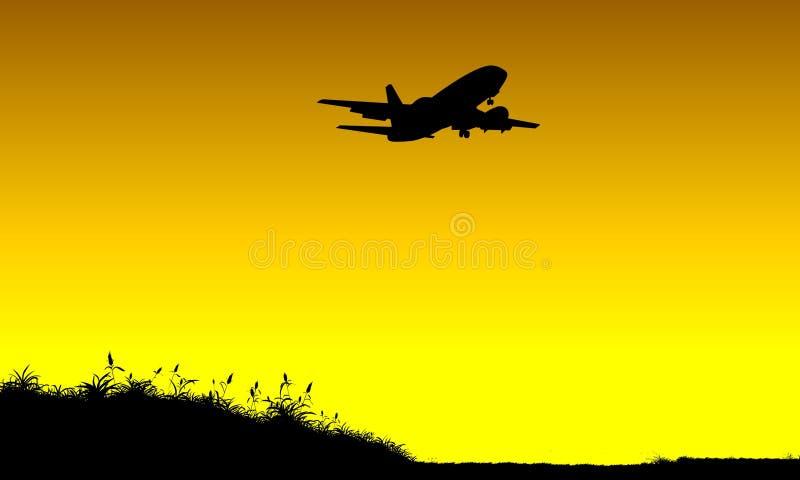 Flugzeugflugwesen am Sonnenuntergang vektor abbildung