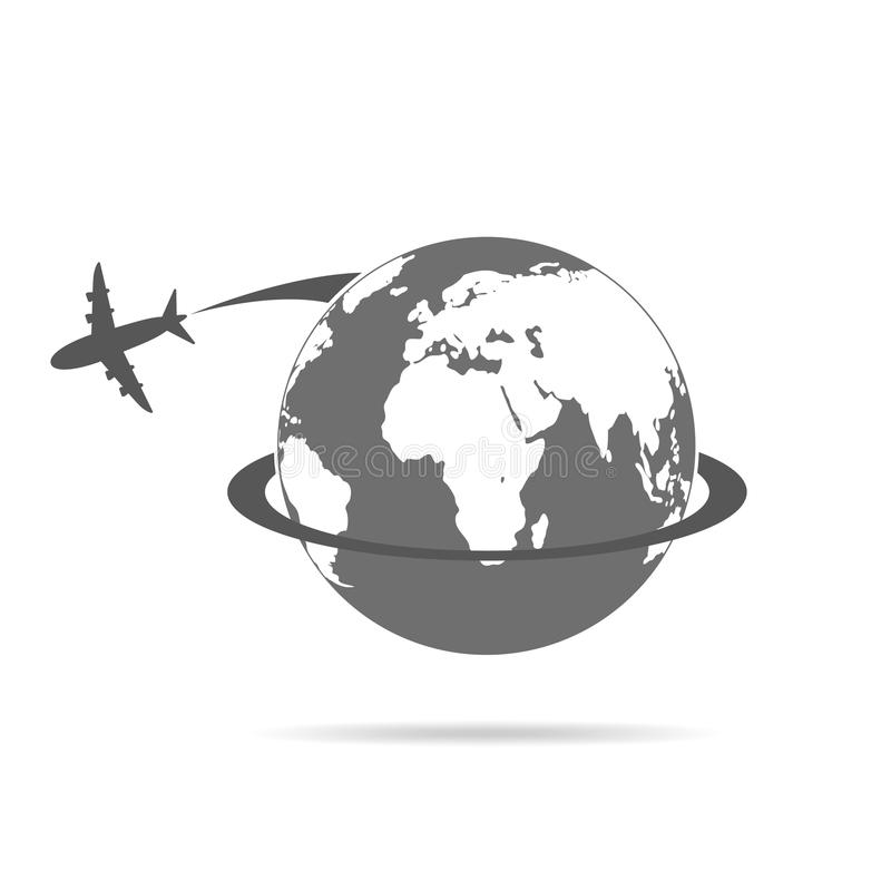 Flugzeugflugwesen um die Kugel Auch im corel abgehobenen Betrag vektor abbildung